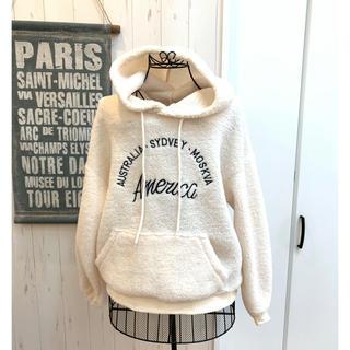 起毛 パーカー ホワイト ピンク 韓国ファッション