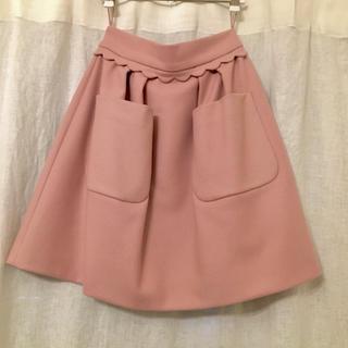 miumiu - miumiu スカラップ ウールスカート ピンク