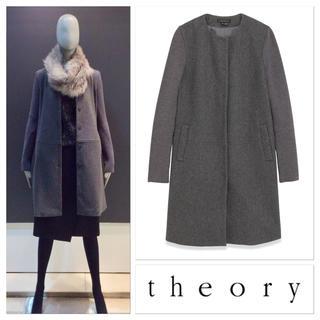 theory - 【美品】セオリー 定価85320円 theory 異素材 ノーカラーコート S