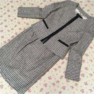 アンタイトル(UNTITLED)のアンタイトル ノーカラー スカートスーツ 1 W66 ツイード ラメ 入学入園 (スーツ)