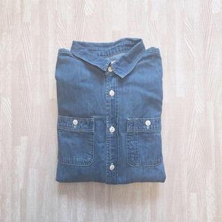 ダブルクローゼット(w closet)のsale❗️ダブルクローゼット デニムシャツ ブルー 古着(シャツ/ブラウス(長袖/七分))