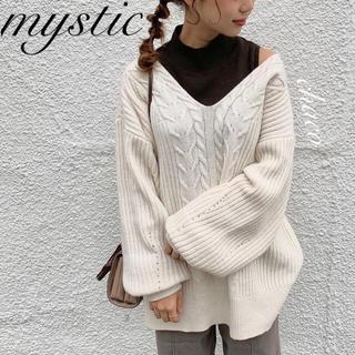 mystic - 僅か⚠️新品¥6490【mystic】Vケーブルニット ゆるニット ケーブル編み