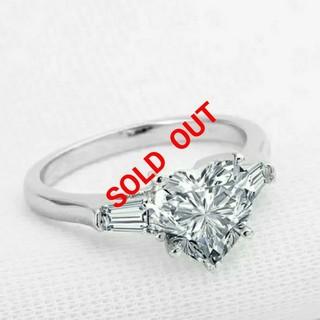 ハリーウィンストン(HARRY WINSTON)の最高級合成ダイヤモンド/SONAダイヤモンド/ハートシェイプリング/9号(リング(指輪))