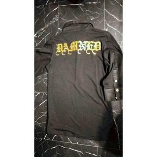 エルエーゲート(LA GATE)のLA GATEゴージャスラメ7分袖ポロシャツ/スパンコールラインストーンロック(ポロシャツ)