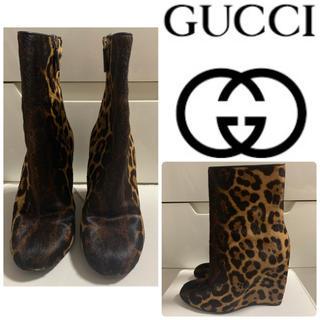 Gucci - 美品 GUCCI ハラコレオパード  ウエッジブーティ