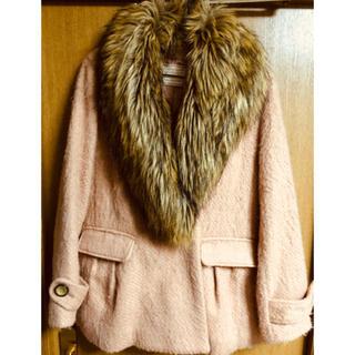 ラグナムーン(LagunaMoon)のコート ピンク ファー付 2way(毛皮/ファーコート)