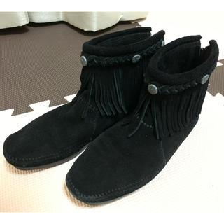 ミネトンカ(Minnetonka)のミネトンカ フリンジ ショート ブーツ 黒(ブーツ)