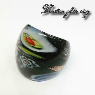 VR44 人気のブラックミルフィオリ ベネチアガラス ベネチアリング 指輪(リング(指輪))