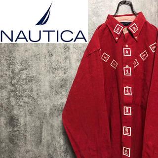 NAUTICA - 【激レア】ノーティカ☆ボックスロゴプリントデザインボタンダウンシャツ 90s
