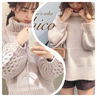 who's who Chico - 秋冬❄️新作¥6490【Chico】ワッフル袖ケーブルタートルニット