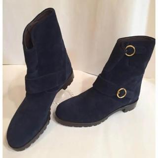 オゥバニスター(AU BANNISTER)のオゥバニスター レザーブーツ ネイビー ベルトデザイン 革製品(ブーツ)