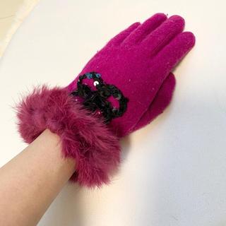 アナスイ(ANNA SUI)のアナスイ リアルファー スパンコール 手袋(手袋)