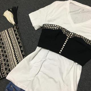 H&M - 新品 H&M トップス ビスチェ レイヤード ドッキング 重ね着 Tシャツ