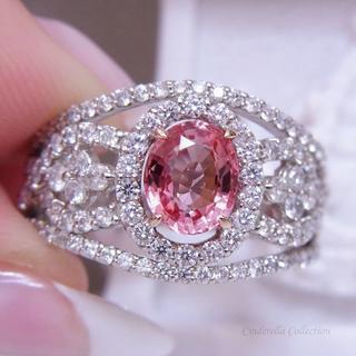 Pt900★非加熱★天然パパラチアサファイア王妃★王冠リングGIA(リング(指輪))