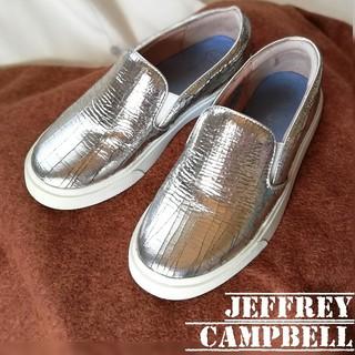 JEFFREY CAMPBELL - ジェフリーキャンベル/クラック加工/スリッポン/36(23㎝)天然皮革/シルバー