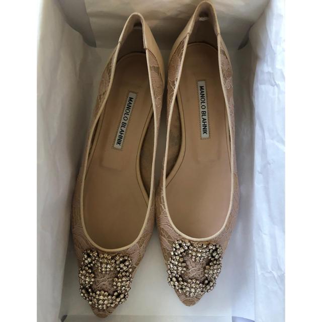 MANOLO BLAHNIK(マノロブラニク)の新品未使用!! マノロブラニク ハンギシ フラット ヌード 38.5 レディースの靴/シューズ(バレエシューズ)の商品写真