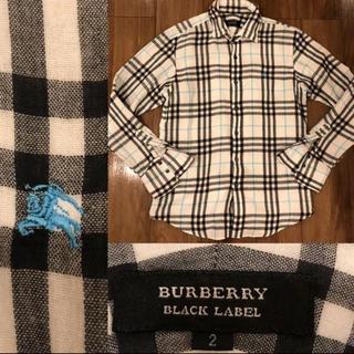 BURBERRY BLACK LABEL - BURBERRY BLACK LABEL チェックシャツ バーバリー 襟ワイヤー