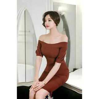 asos - ワインレッド オフショル タイト ワンピース ドレス 半袖 赤