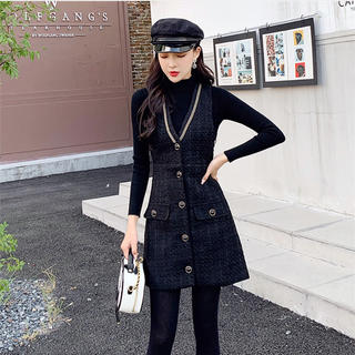 ZARA - ☆ 韓国ファッション おしゃれな 気質 レトロセーター+ワンビース 2点セット