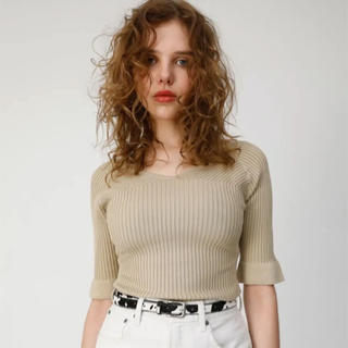 moussy - moussy LOW NECKED KNIT TOP