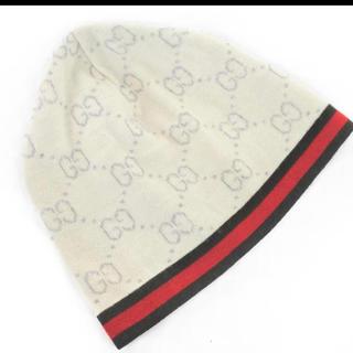 Gucci - GUCCI グッチ ウール100% GG柄 ニット帽 sizeL/アイボリー
