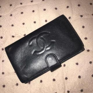 CHANEL - シャネル 二つ折り財布 キャビアスキン ブラック ココマーク がま口