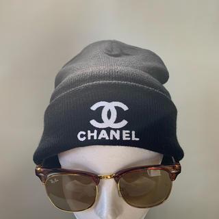 CHANEL - CHANEL  ニット帽二つ折り黒