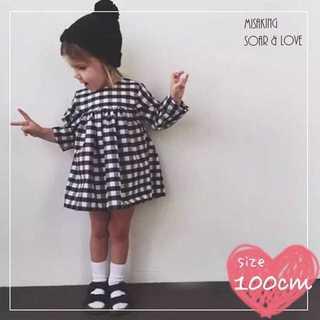 アウトレット⭐️ チェックチュニックワンピ100cm(110) 海外子供服(ワンピース)