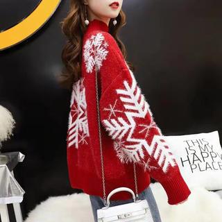LAUA179秋冬レディース  雪花柄 ニットセーター(3色S-3XL)(ニット/セーター)