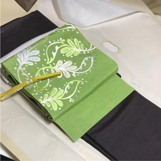 上質 小千谷紬 刺繍 名古屋帯 (着物)