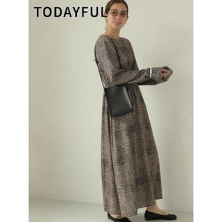 TODAYFUL - Print Shirring Dress 19秋冬 マキシワンピース 先行予約