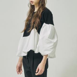 Drawer - hue ペプラムバルーンスリーブトップス 白×黒 完売