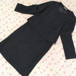 ナチュラルビューティーベーシック(NATURAL BEAUTY BASIC)のナチュラルビューティー ノーカラー スカートスーツ L W72 ツイード ラメ(スーツ)