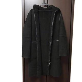 ザラ(ZARA)のZARA ボア スエード フェイクムートン リバーシブル コート 黒 ブラック(ロングコート)