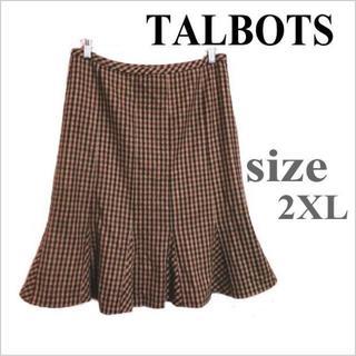 タルボット(TALBOTS)のタルボット◎茶ベージュ系チェック柄ウール裾フレアスカート◎大きいサイズ◎10(ひざ丈スカート)