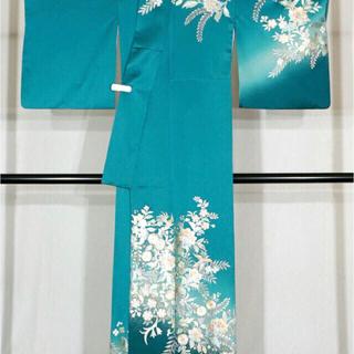 格安 ◆ 未使用品 鮮やかな青 正絹 訪問着 豪華銀彩 ターコイズ〜グリーン系柄