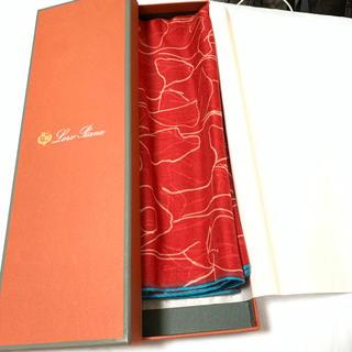 ロロピアーナ(LORO PIANA)の新品 ロロピアーナ  スカーフ  赤 カシミヤ エルメス  クリスマスプレゼント(バンダナ/スカーフ)