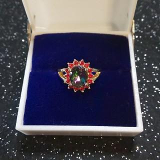 お値下。ファッションリング  虹  赤(リング(指輪))