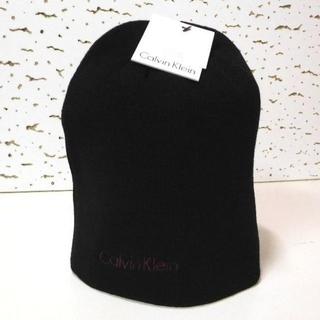 カルバンクライン(Calvin Klein)のCK*カルバンクライン/ブラック/スモールロゴリバーシブルビーニー(ニット帽/ビーニー)