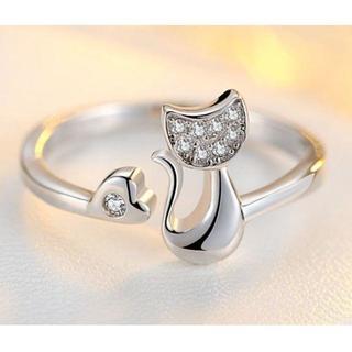 【猫シルバー】 かわいい 子猫 シルバー925 調節可能(リング(指輪))