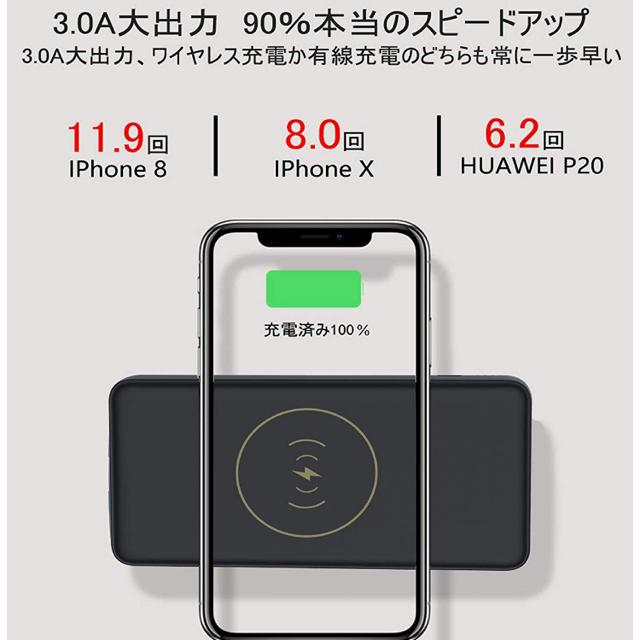 モバイルバッテリー ワイヤレス充電 予備充電器 スマホ/家電/カメラのスマートフォン/携帯電話(バッテリー/充電器)の商品写真