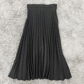 ザラ(ZARA)の美品 ザラ ZARA プリーツスカート モノトーン 水玉 ドット M(ロングスカート)