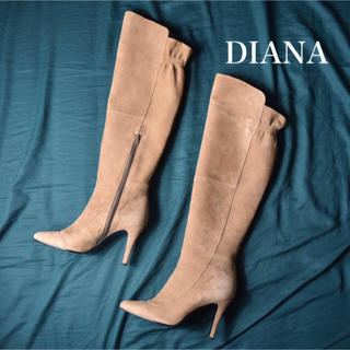 DIANA - 【定価約4万円】DIANA ダイアナ サイドジップ スウェード ニーハイブーツ