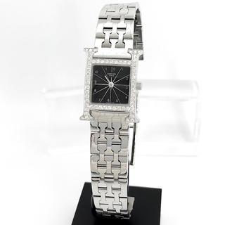 Hermes - 【仕上済】エルメス Hウォッチ シルバー ダイヤ 黒文字盤 ブレス 腕時計
