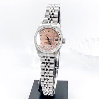 ROLEX - 【OH済/仕上済】ロレックス 10P 新ダイヤ ピンク文字盤 シルバー 腕時計