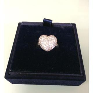 100%本物18k ホワイトゴールド ダイアモンド 大きいハートの指輪(リング(指輪))