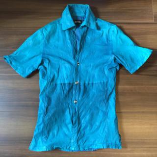 シェラック(SHELLAC)のシェラック   レザー シャツ 48 ブルー(レザージャケット)