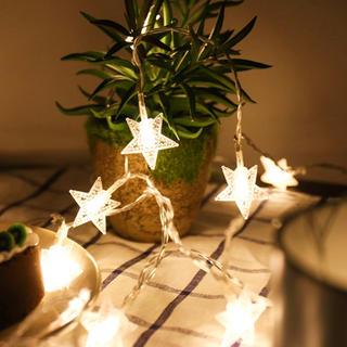 クリスマス イルミネーション ライト 照明■星 6m■電池式&USB接続 可能