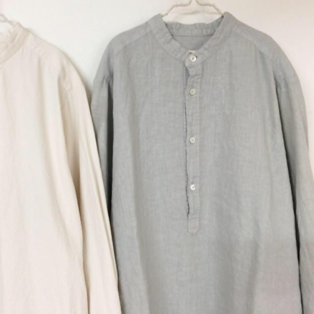 nest Robe(ネストローブ)のバンドカラープルオーバーシャツ、スーピマコットン裏毛スウェットプルオーバー専用 レディースのトップス(シャツ/ブラウス(長袖/七分))の商品写真