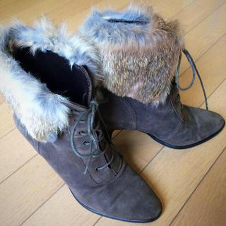 ファビュラスアンジェラ(Fabulous Angela)の【SALE】 D'angela イタリア製 本革ラビットファーブーツ (ブーツ)